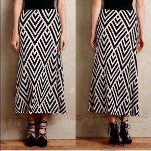 Anthro Maeve Peaked Chevron Maxi Skirt XS